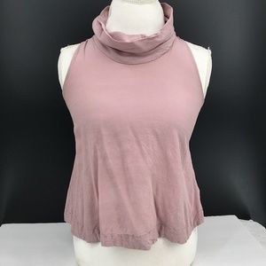Free People Cowl Neck Tank top high neck casual cropped pink Mauve XS women's